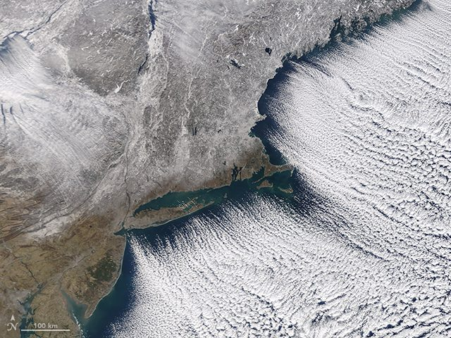 NASA Satellite image of frozen Northeast
