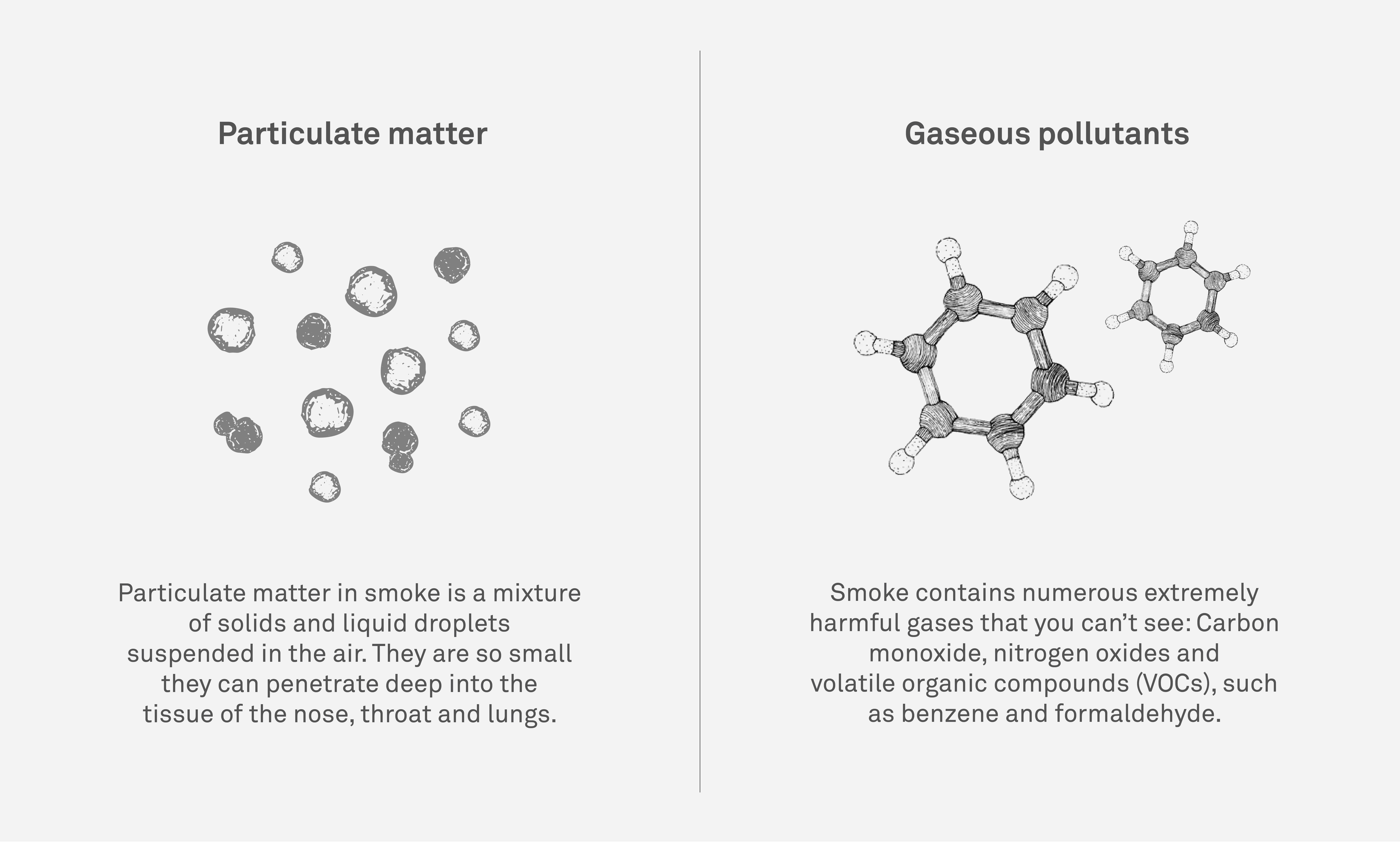 best air purifier for smoke - pollutants diagram of particles and gases