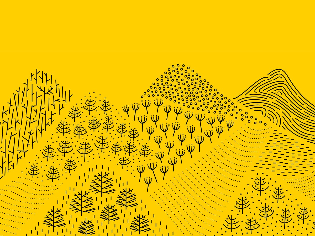 Outdoor pollen and hills illustration