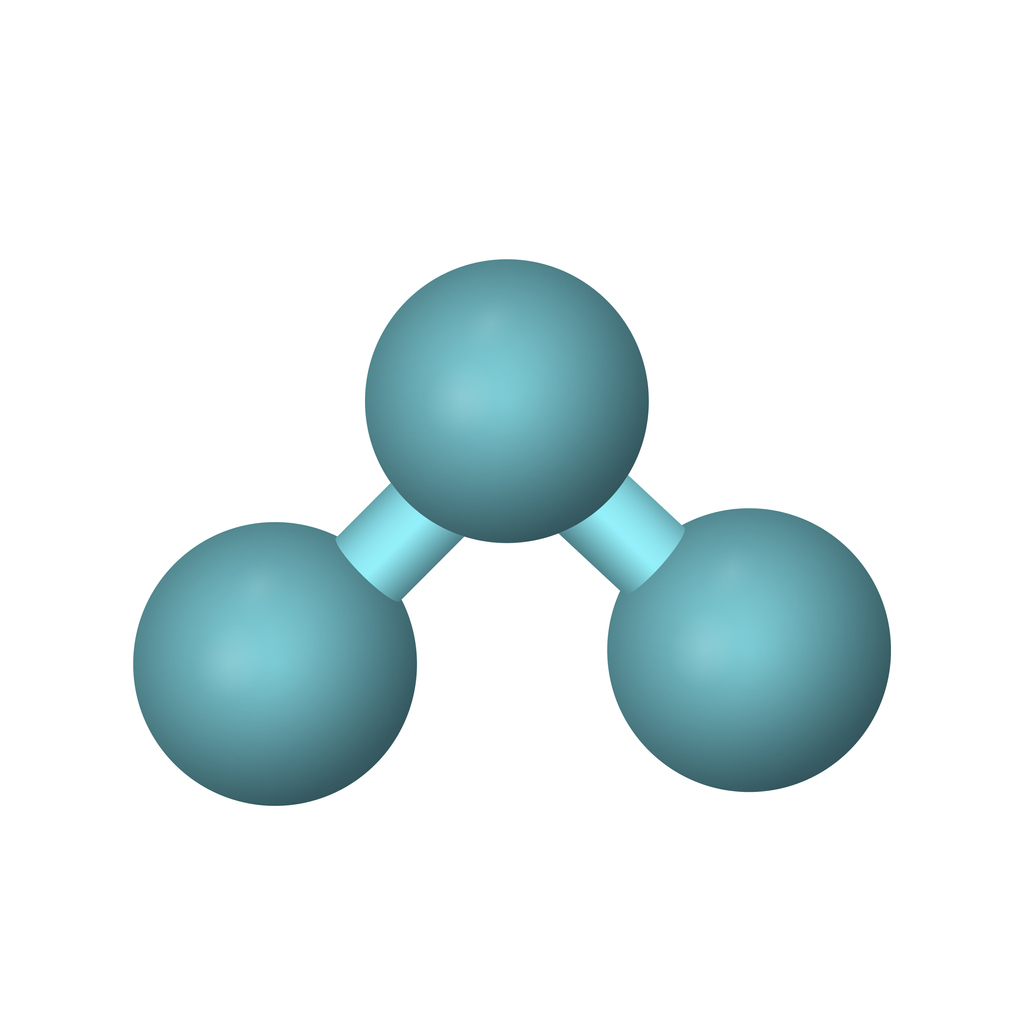 3-D diagram of molecular structure of ozone