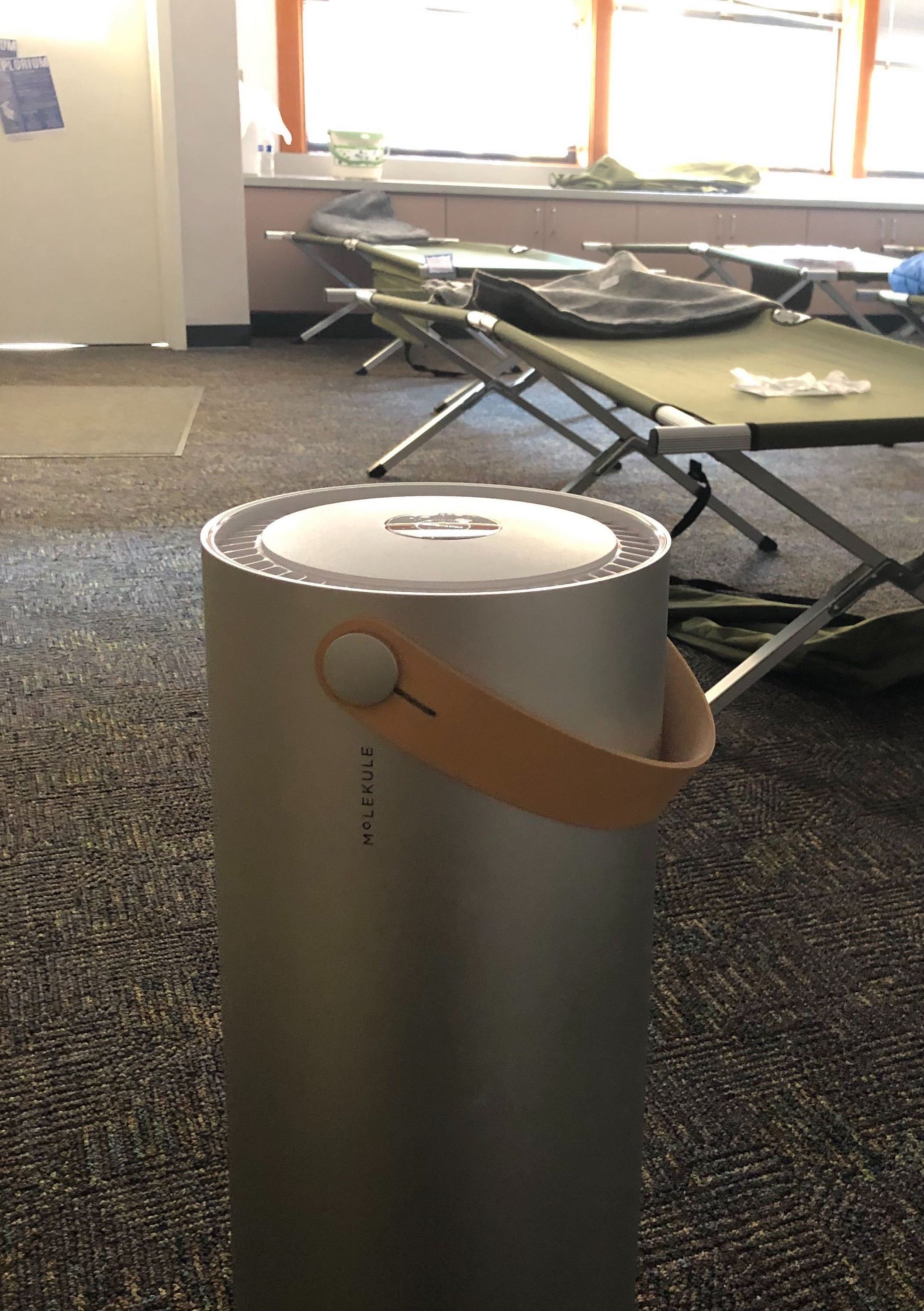 Molekule air purifier at evacuation center of Kincade fire.