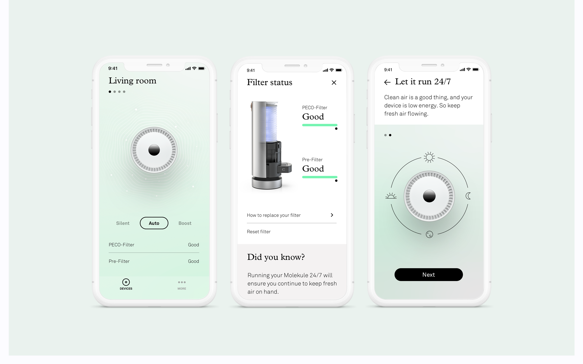 New Molekule app screens